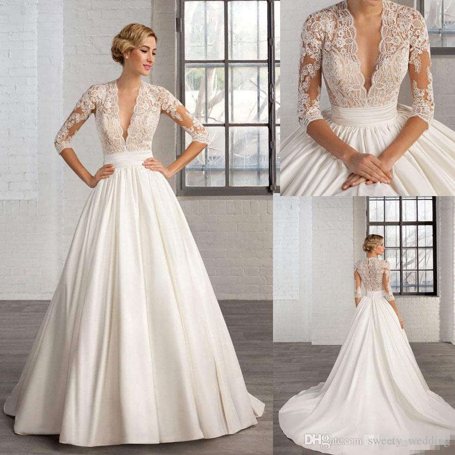 Vintage Hochzeit Kleid Spitze Tiefem V Ausschnitt Nachnahme