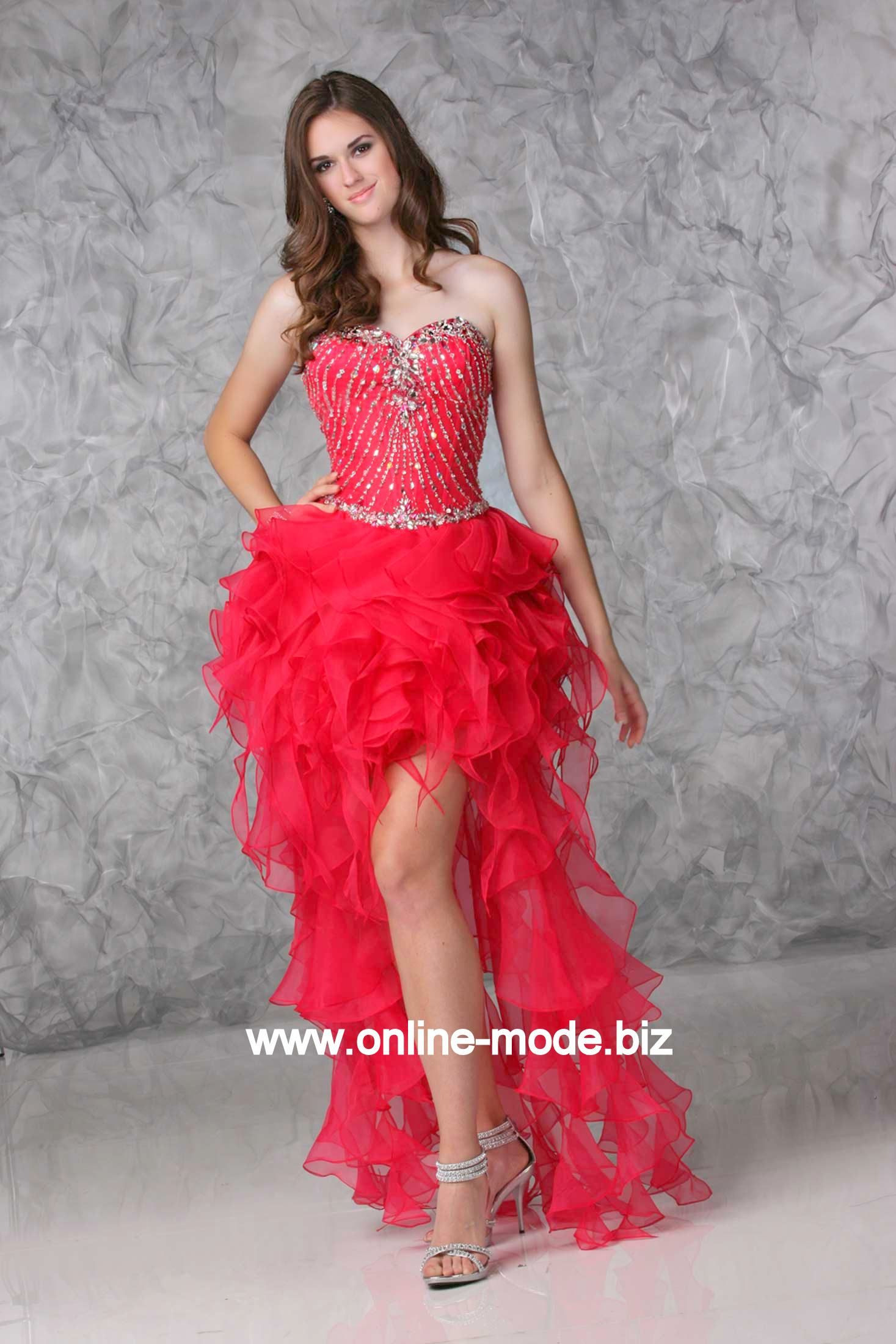 Vokuhila Kleid Abendkleid Vorne Kurz Hinten Lang In Rot Von