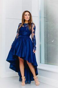 Vokuhila Kleid Hochzeitsgast Dunkelblau Mit Langen Ärmeln