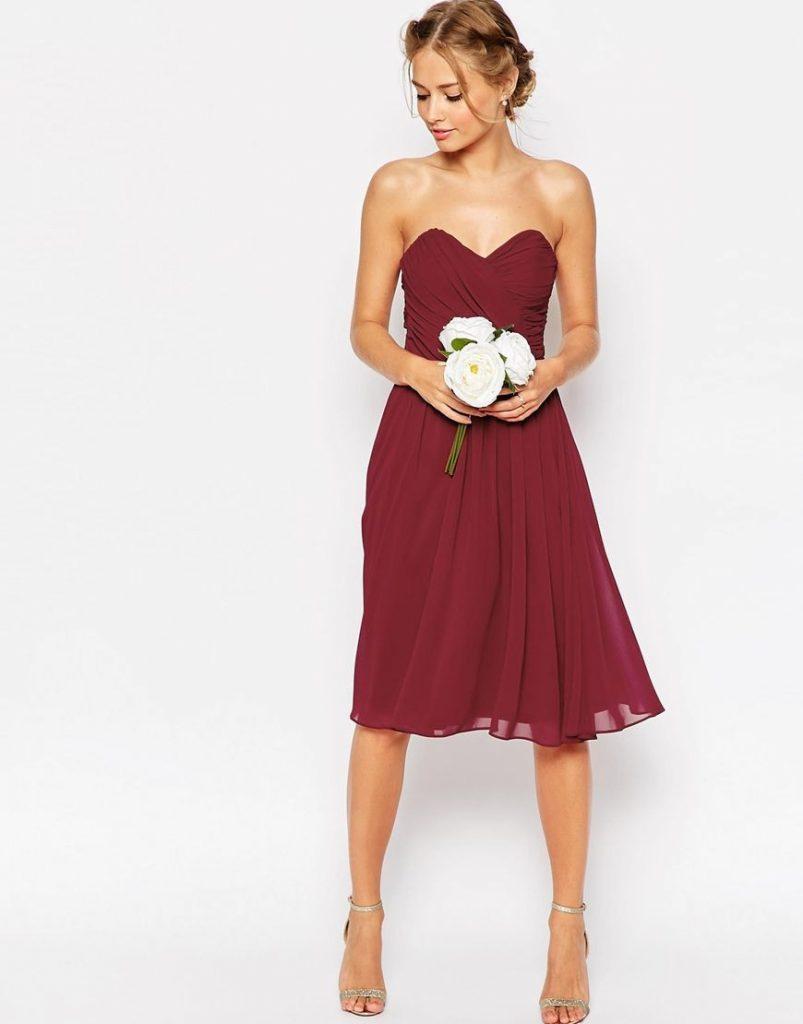Wedding Chiffon Bandeau Midi Dress  Hochzeitsoutfit - Abendkleid