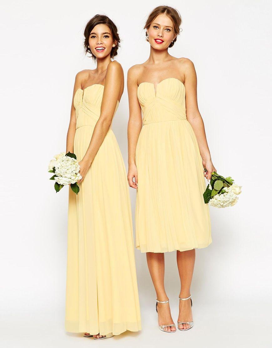 Wedding Ruched Bodice Bandeau Midi Dress   Trauzeugin Kleid