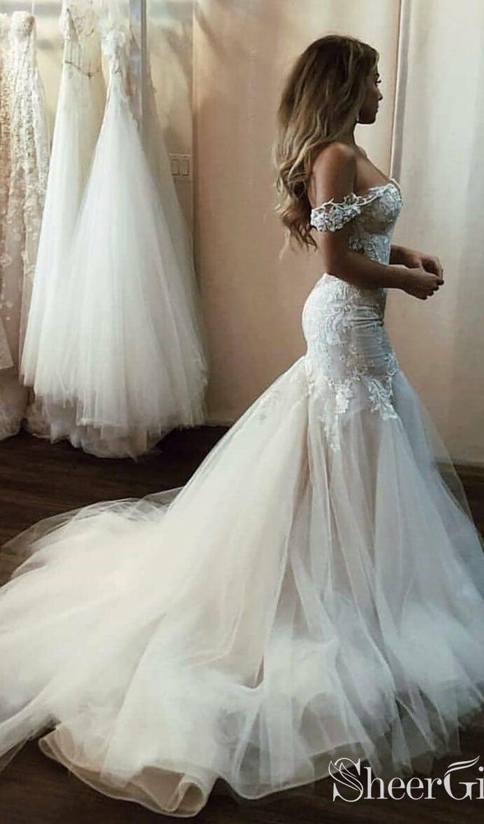 Weg Von Der Schulter Meerjungfrau Hochzeitskleid