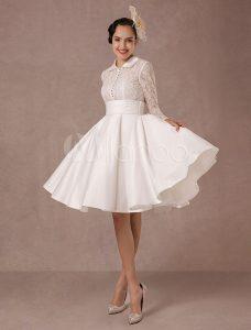 Weinlese-Hochzeits-Kleid-Lange Spitze-Hülsen-Satin-Brautkleid-Kurze  Knie-Längen-Sommer-Hochzeits-Kleider 2020 Milanoo