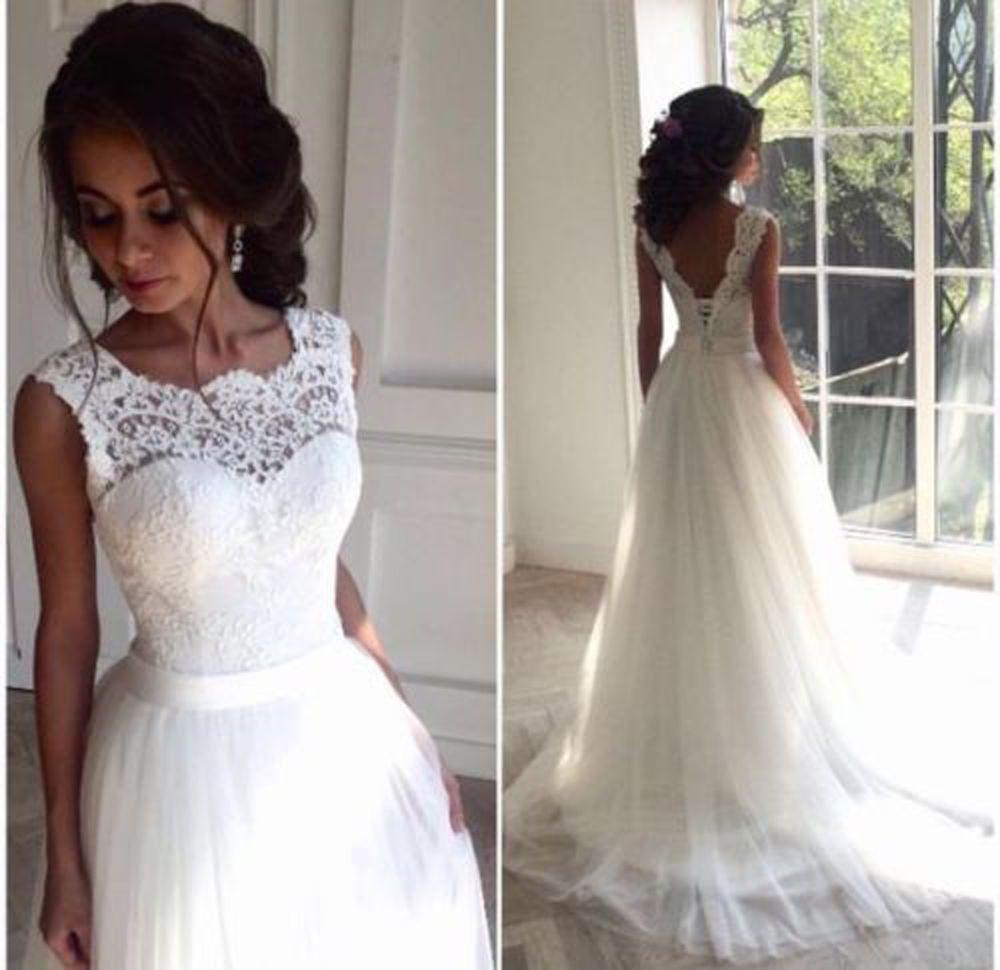 Weiß/elfenbein Hochzeitskleid Brautkleider Ballkleid A - Abendkleid