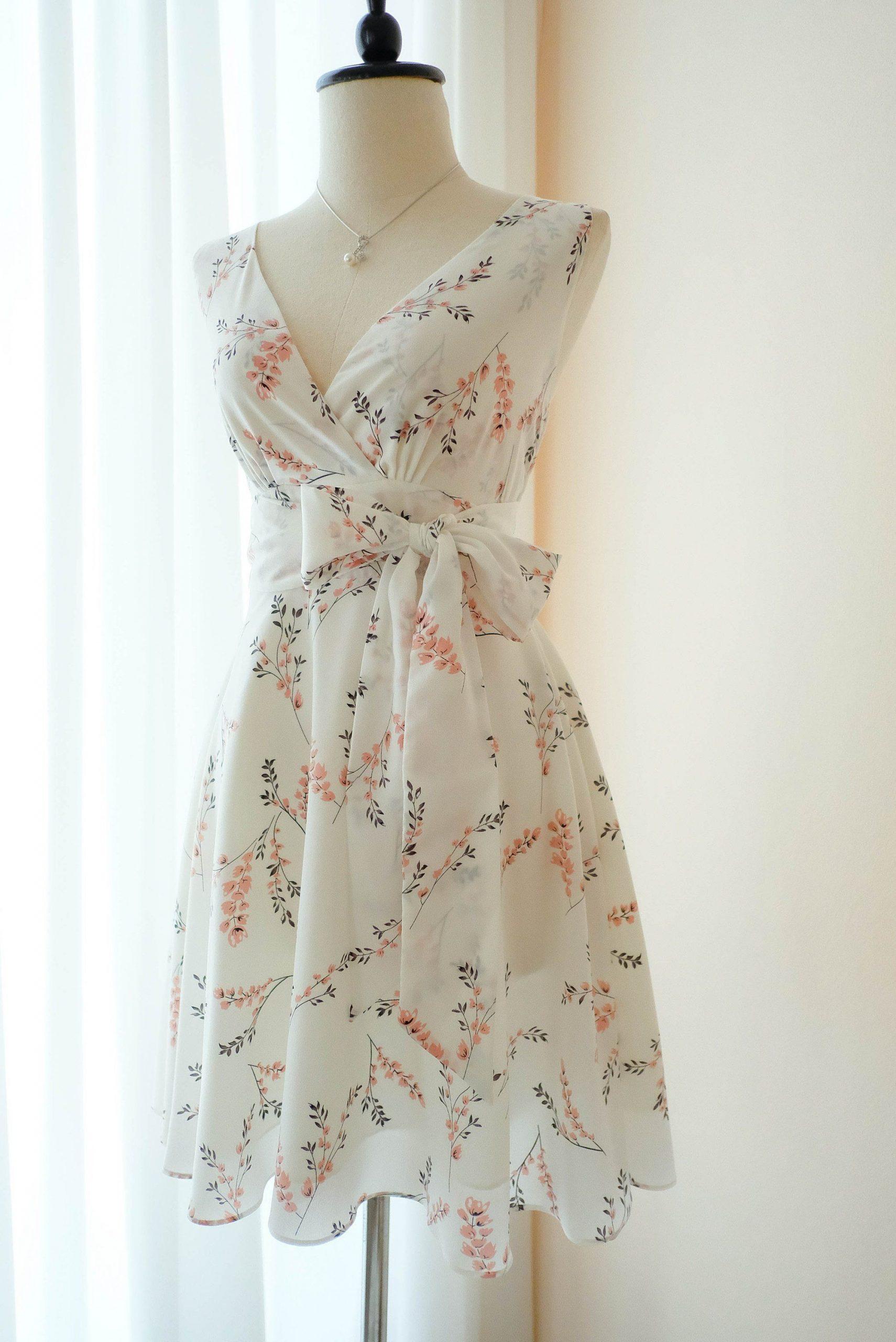 Weiß Floral Weiß Brautjungfer Kleid Blumen Vintage Kleid