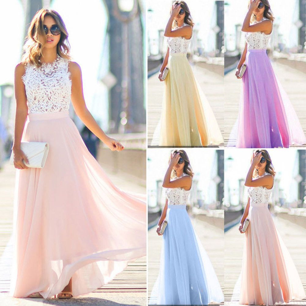 Women Ladies Wedding Bridesmaid Evening Party Ball Prom Gown