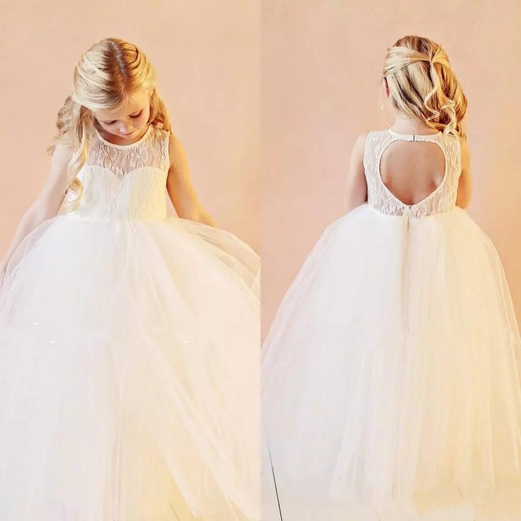 Zh0260X Vintage Blume Mädchen Kleider Hochzeit Kleider Bodenlangen Spitze  Weiß Organza Flower Kleider Für Hochzeit - Buy Kinder Party Kleid,mädchen