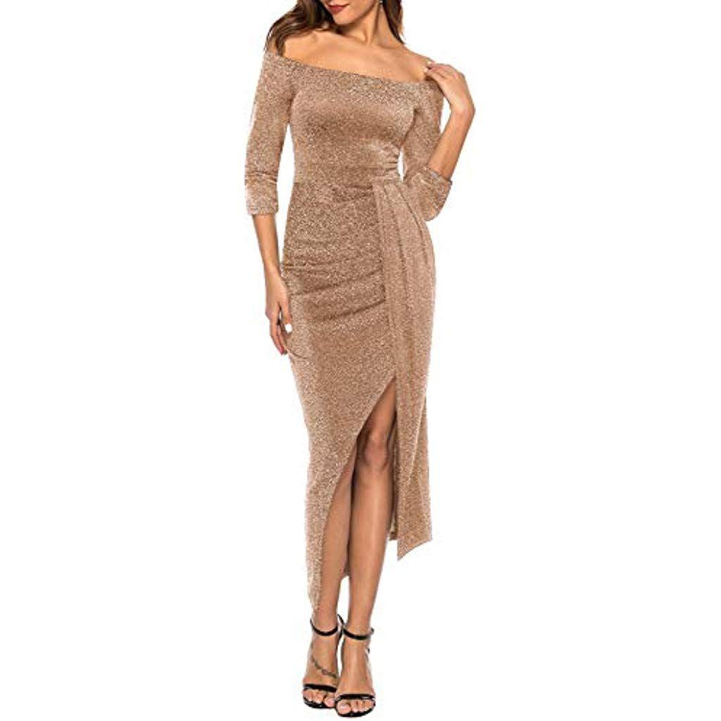 Zjctuo Damen Kleid Abendkleid Schulterfreies Cocktailkleid