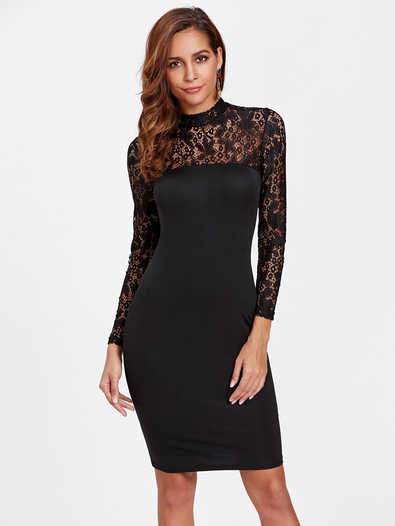 10 Luxurius Kleid Schwarz Knielang Mit Spitze Vertrieb