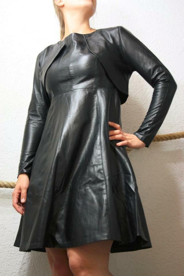 100 Echt Lederkleid Schwarz Trachten Kleid Nappaleder