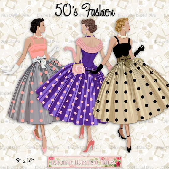 12Mode Der 50Er Jahre Damen Polka Dot Kleid Licht Hautton