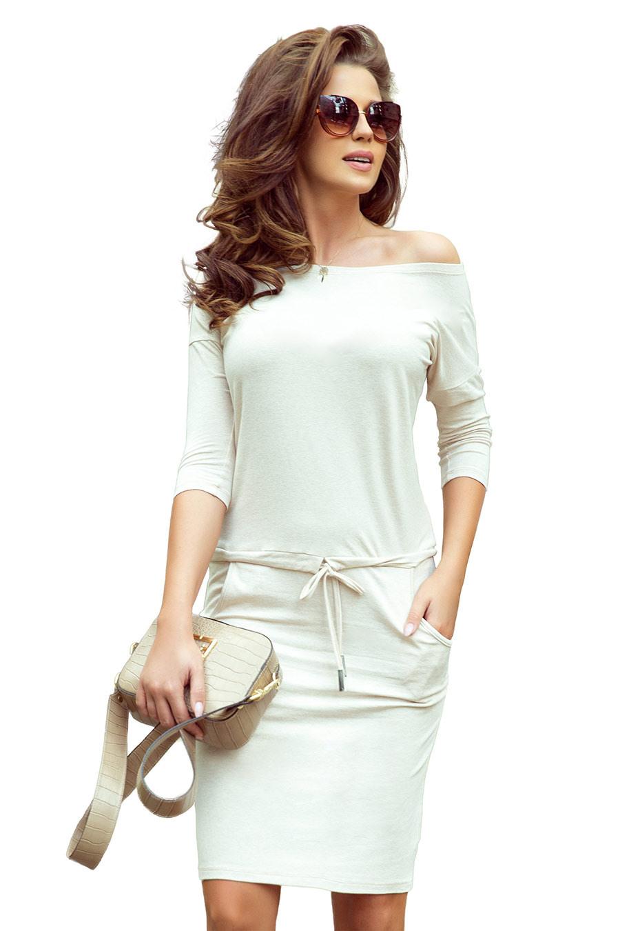 13109 Sportliches Kleid  Beige Melange  Numoco De