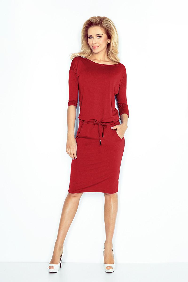 1366 Sportliches Kleid  Dunkelrote Farbe  Numoco De