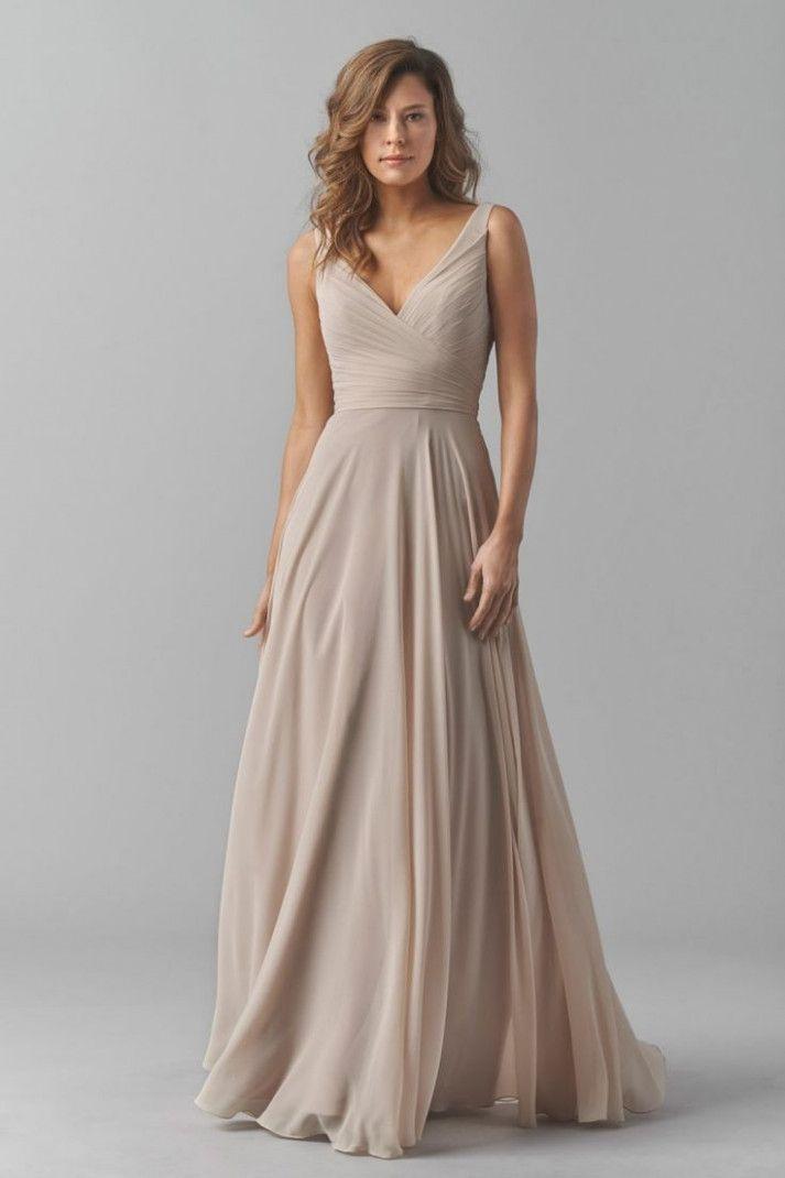 14 Kleid Beige Lang In 2020  Brautjungfernkleid Kleid