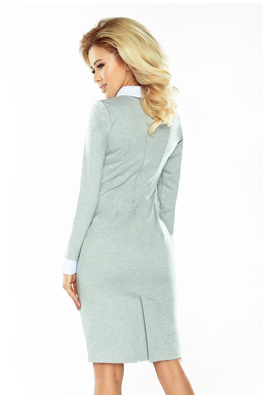 143-4 Kleid Mit Weißem Kragen - Grau - Numoco De