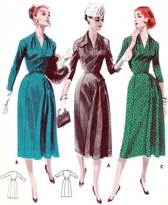 1950S Dress Pattern Butterick 7894 V Neck Day Or Evening