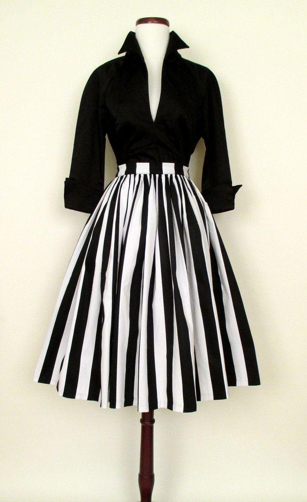 1950'S Paris Skirt  Lauren Bacall Blouse  Kleider Mode