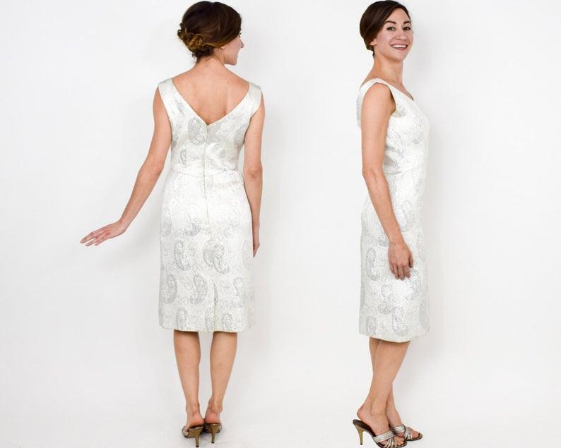 1960Er Jahre Weiße Brokat Kleid 60Er Jahre Weiß Metallic