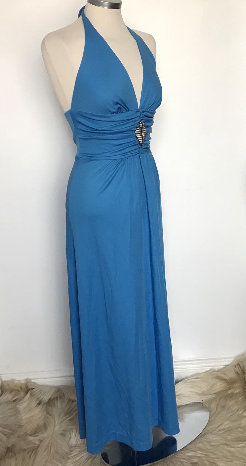 1970Er Jahre Maxi Kleid Blau Griechische Disco Kleid  Etsy