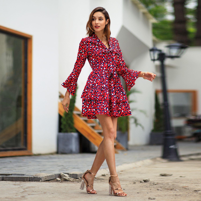 1Xdamen Mode Fruehling Und Herbst A Linie Kleid Fliege