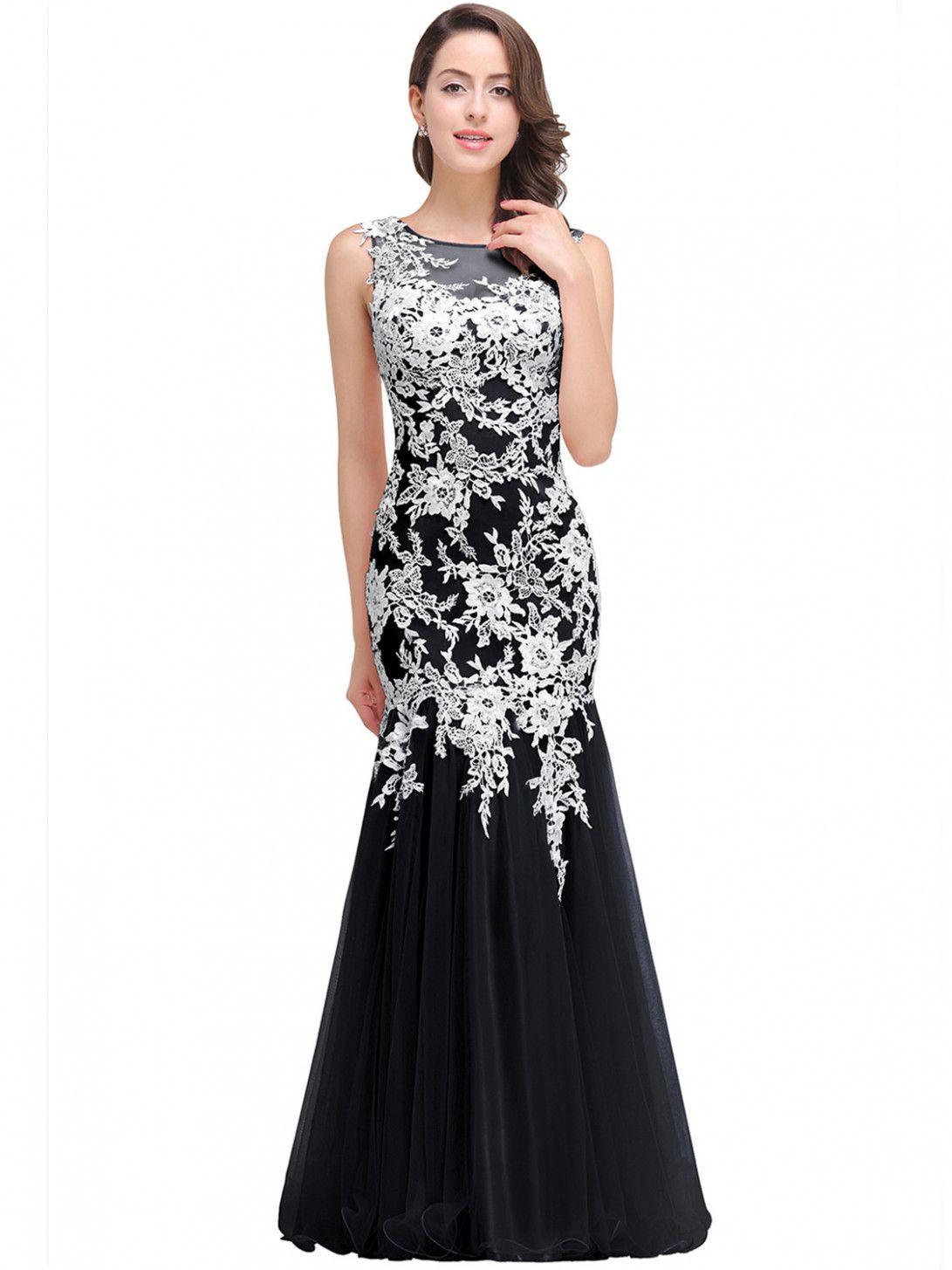 20 Kleider Lang Schwarz Weiß Bild  Designerkleidern