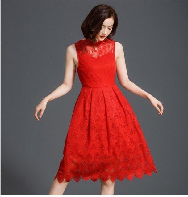 2016 Neue Frauen Mode Spitze Rote Kleider Mädchen Lässig