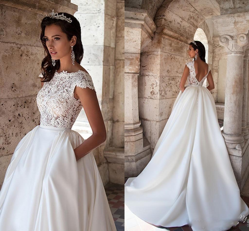 2016 Summer Milla Nova Backless Wedding Dresses Bateau