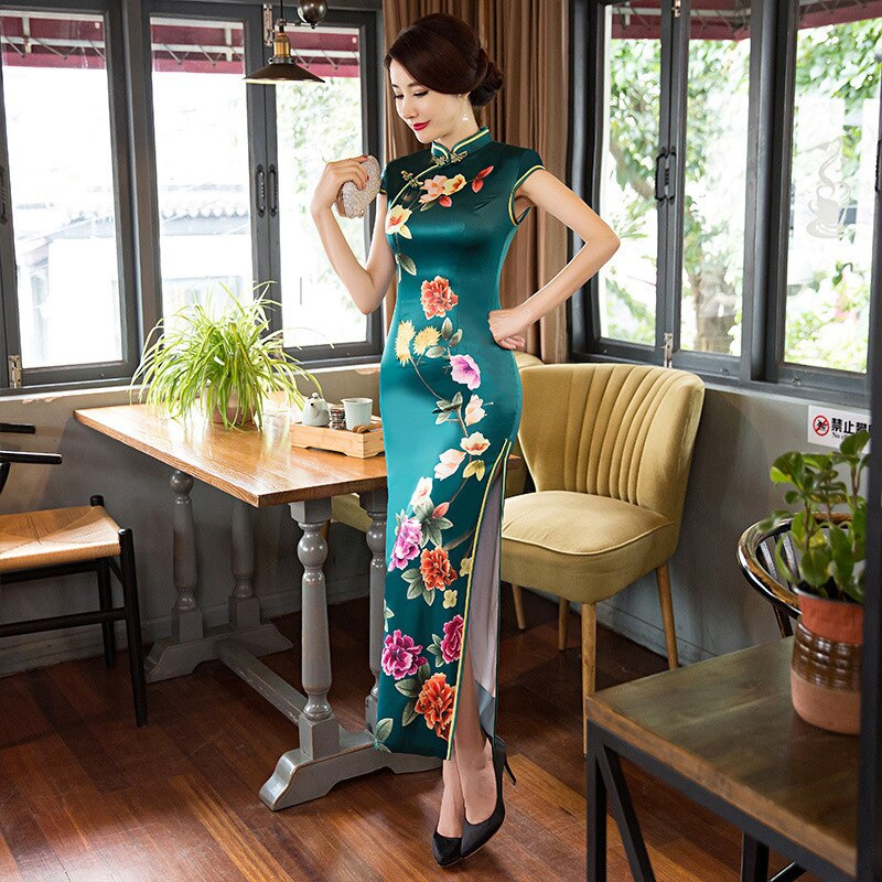 2018 Vintage Cheongsam Blue Long Qipao Dress Traditional