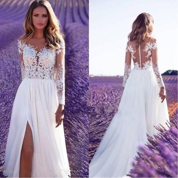 2019 Women Fashion Wedding Dress Long Sleeve Perspective