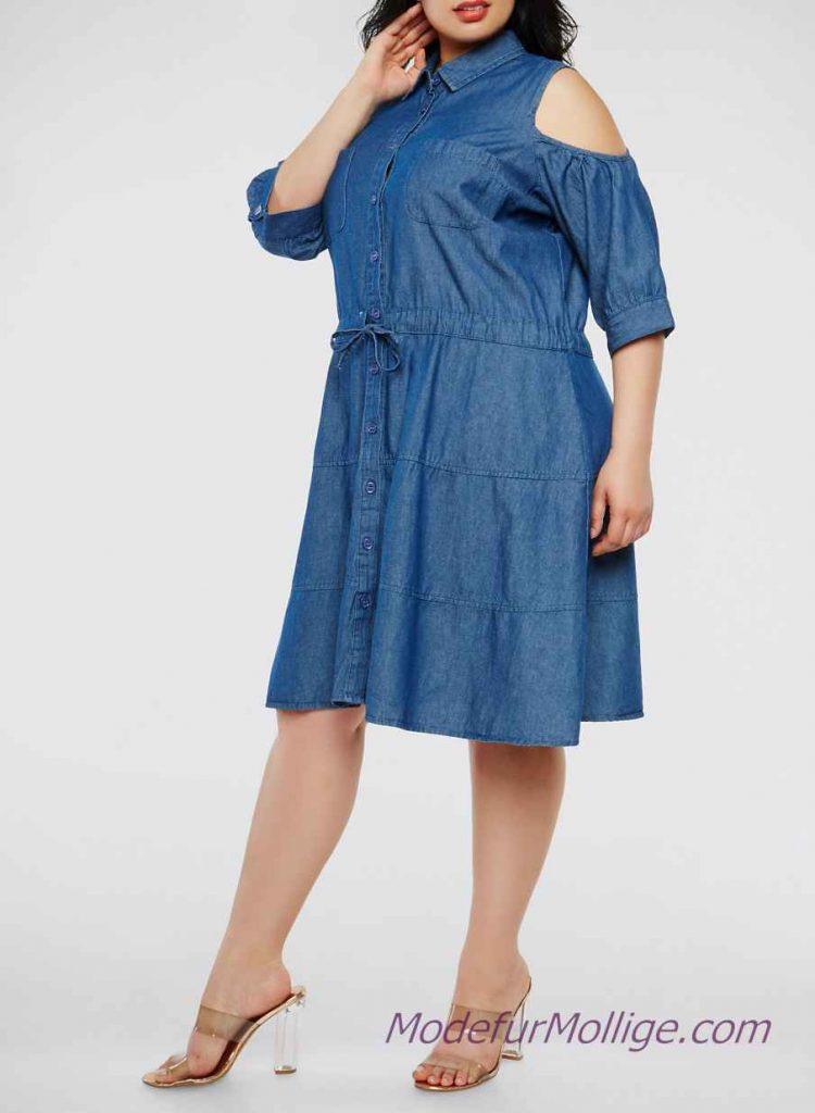 2020 Jeanskleid Große Größen Elegante Sommerkleider Für Mollige  Mode Für Mollige Frauen  Seite 15