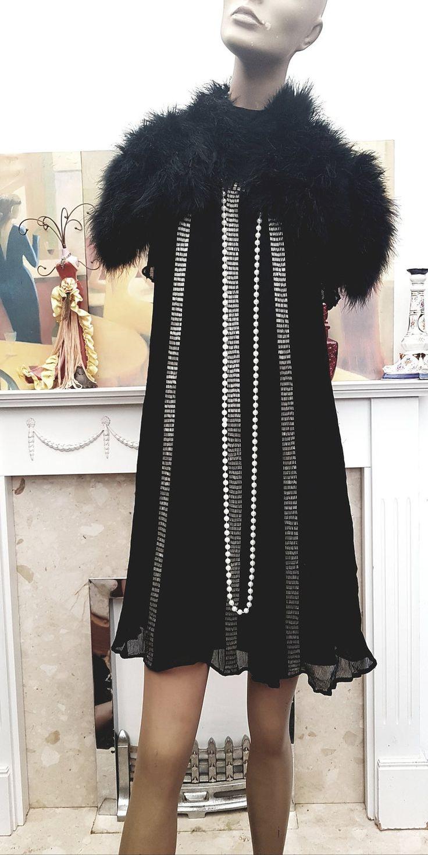 20Er Jahre Schwarz Perlen Seide Chiffon Flapper Stil Kleid