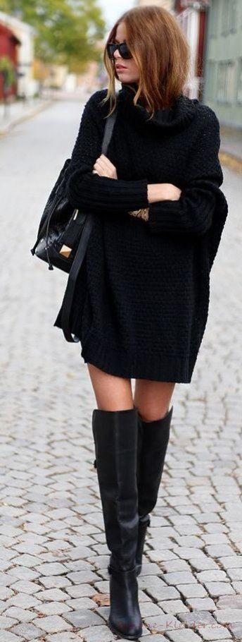 21 Strickkleid Schwarz 2020 Schöne Winterkleider Für