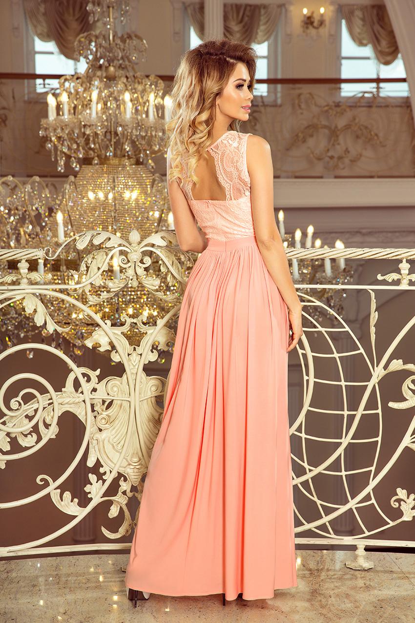 2114 Lea Langes Kleid Mit Spitzenausschnitt  Pfirsich