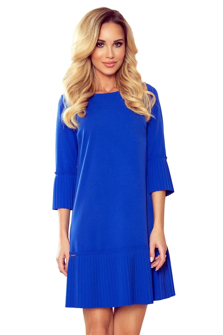 2288 Lucy  Plissiertes Bequemes Kleid  Blau  Numoco De