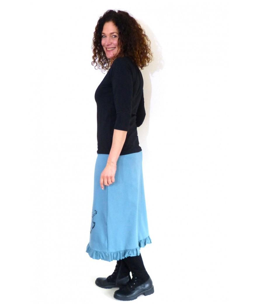 2In1 Rockkleid Siebdruckmotiv Blau