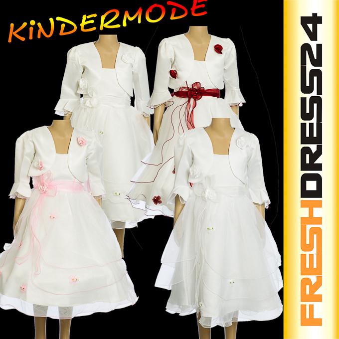 2Tlg Mädchen Kleid Festlich Taufe Hochzeit Kommunion