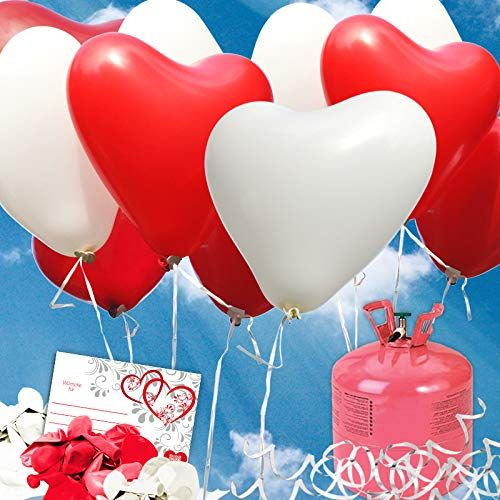 35 Rote/Weisse Helium Herzluftballons Hochzeit
