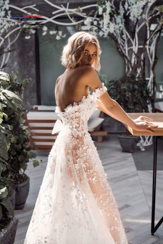 3D Spitze Elegante Boho Elfenbein Brautkleid Erröten