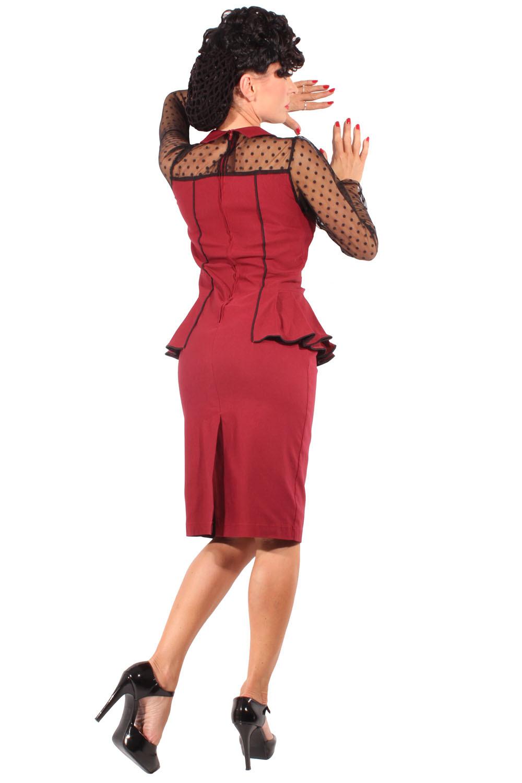 40S Pencil Schößchen Polka Dots Spitze Rockabilly Kleid