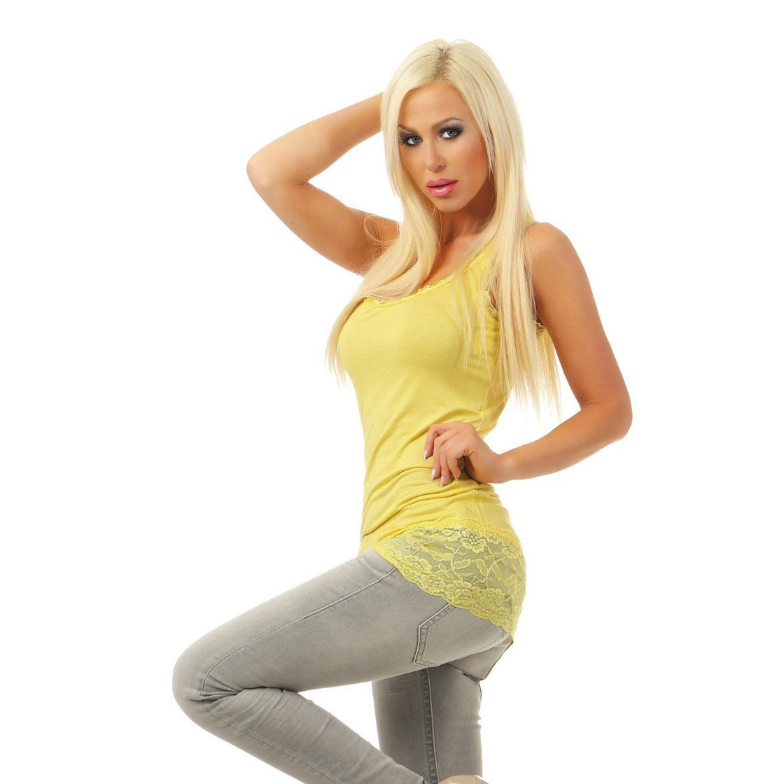 4264 Damen Top Longtop Minikleid Kleid Stretchkleid