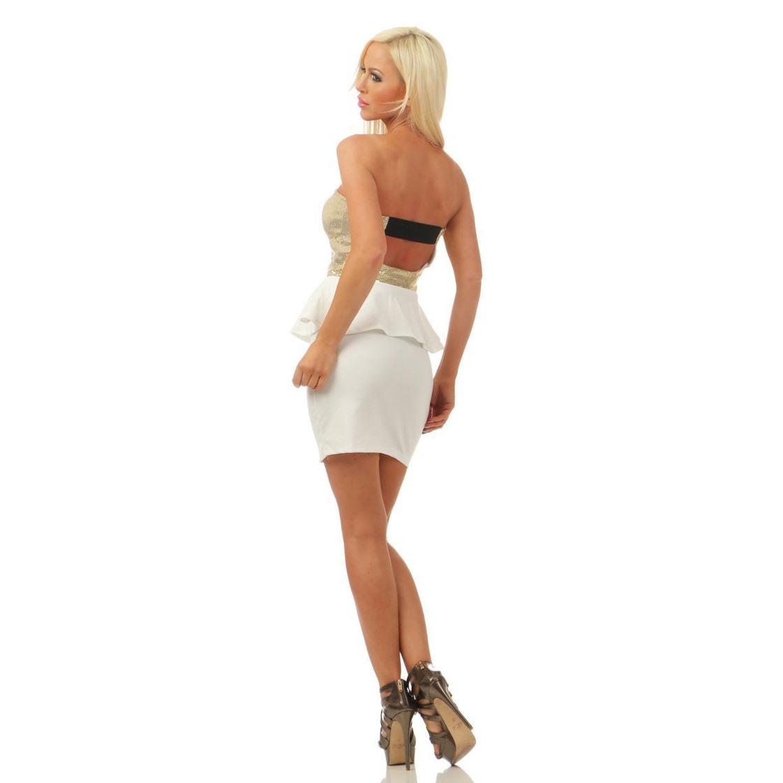 4870 Damen Bandeau Minikleid Kleid Party Pailletten