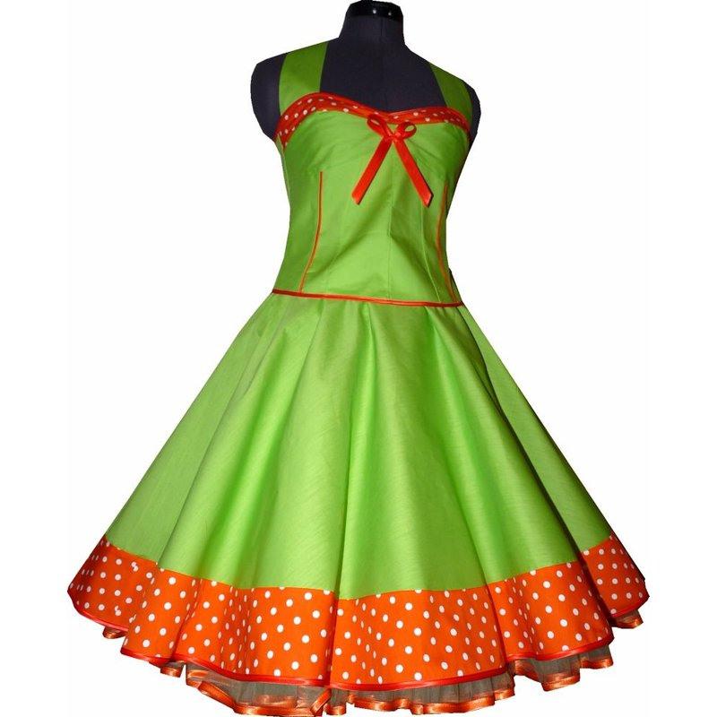 50Er Jahre Kleid Zum Petticoat Apfelgrün Orange Punkte