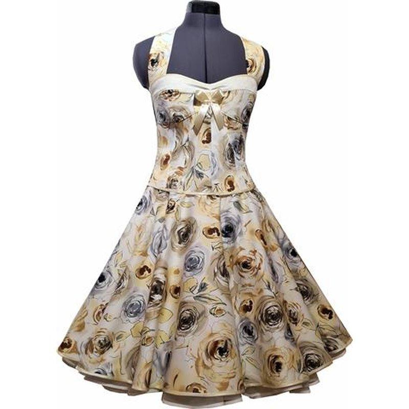 50Er Jahre Kleid Zum Petticoat Creme Silberne Rosen