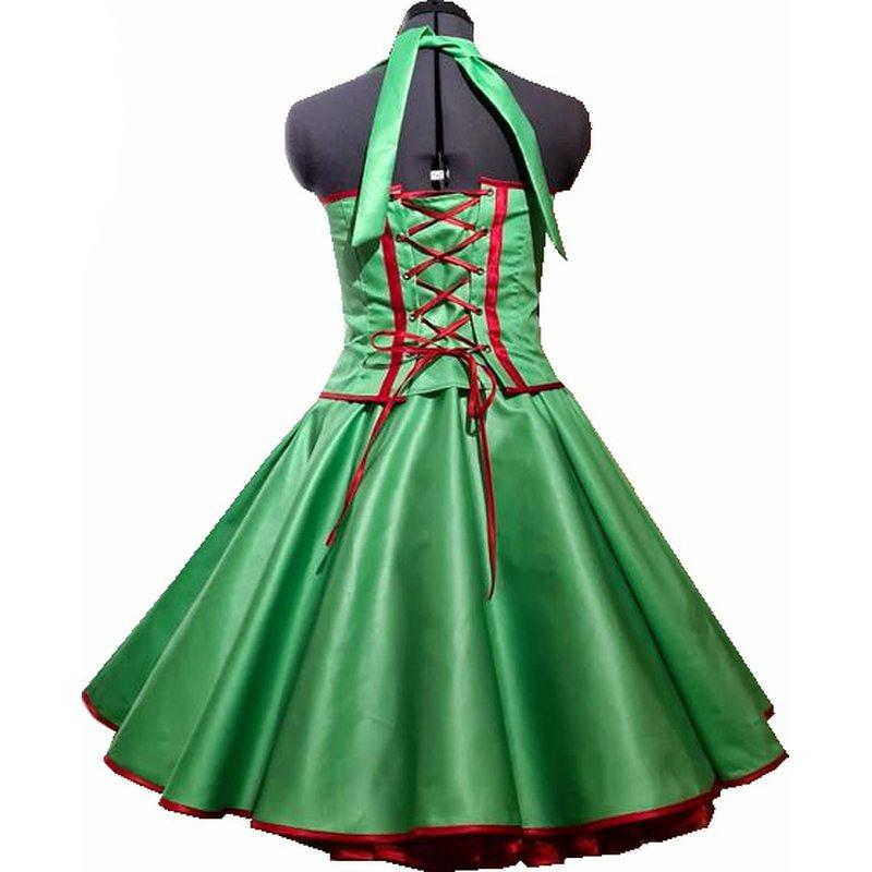 50Er Jahre Kleid Zum Petticoat Vintage Korsage Grün Band