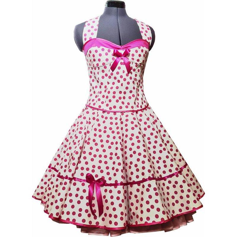 50Er Jahre Kleid Zum Petticoat Weiss Pink Punkte