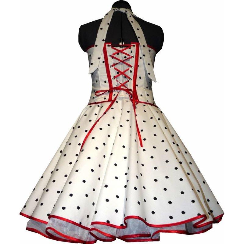 50Er Jahre Kleid Zum Petticoat Weiss Schwarze Tupfen