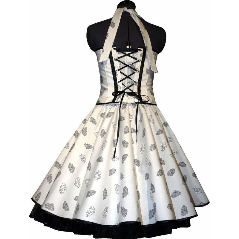 50Er Jahre Kleid Zum Petticoat Weiss Schwarze Wölkchen