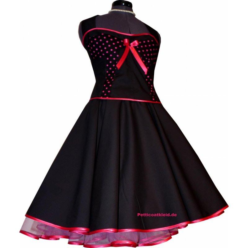 50Er Jahre Korsagenkleid Schwarz Pink Kleine Punkte