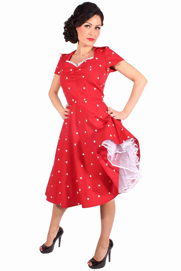50Er Jahre Retro Pin Up Herzchen Swing Kleid