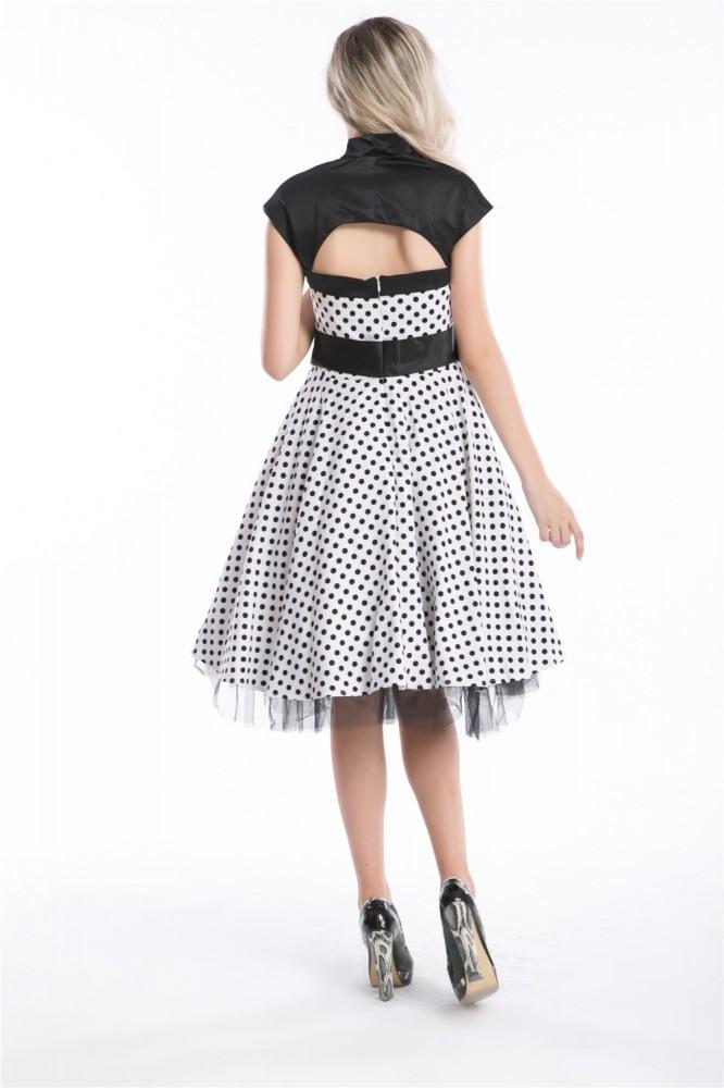 50Er Jahre Rockabilly Kleid Betty Weiß Vintage Polka Dots